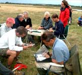 Picture of people data recording at a Greenshank catch